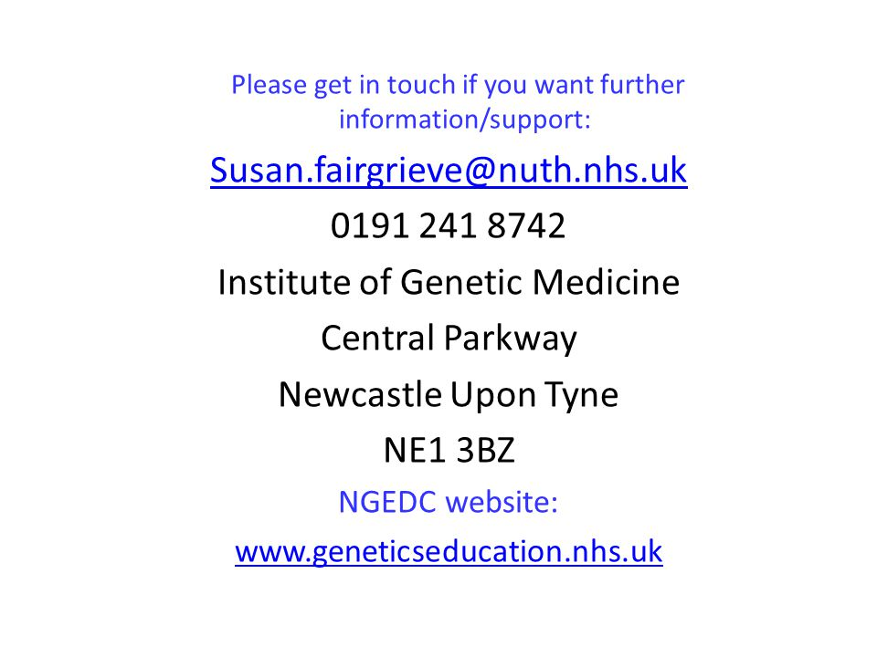 Institute of Genetic Medicine Central Parkway Newcastle Upon Tyne
