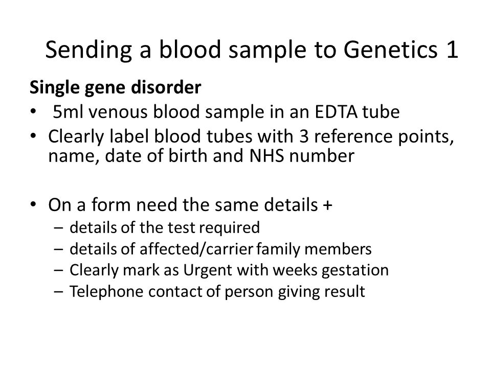 Sending a blood sample to Genetics 1