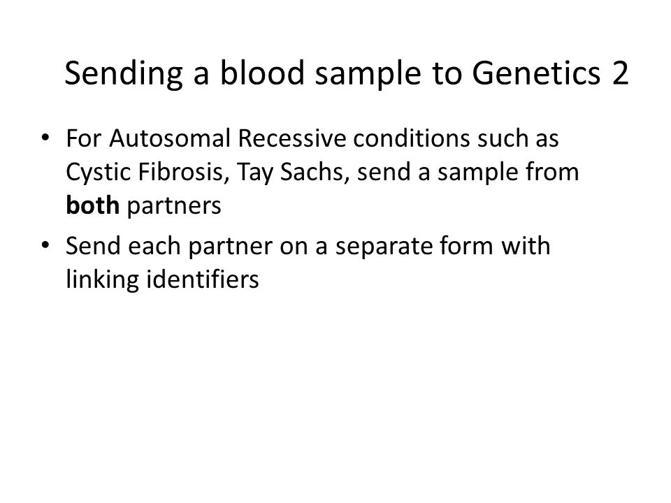 Sending a blood sample to Genetics 2