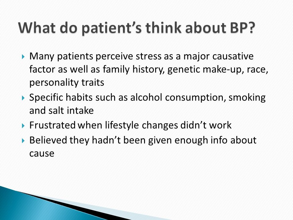 What do patient's think about BP