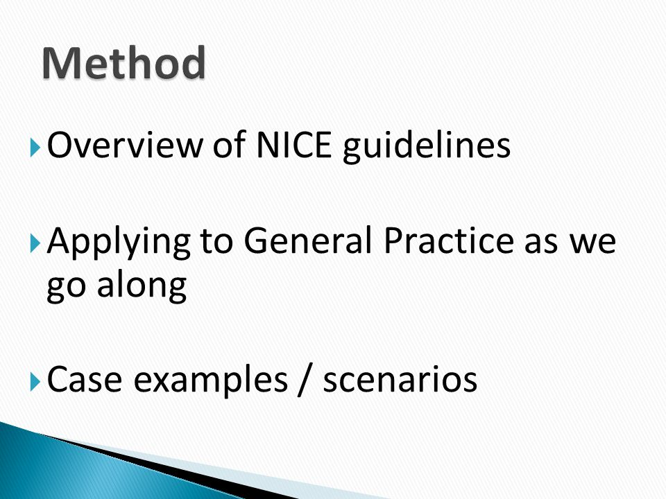 Method Overview of NICE guidelines