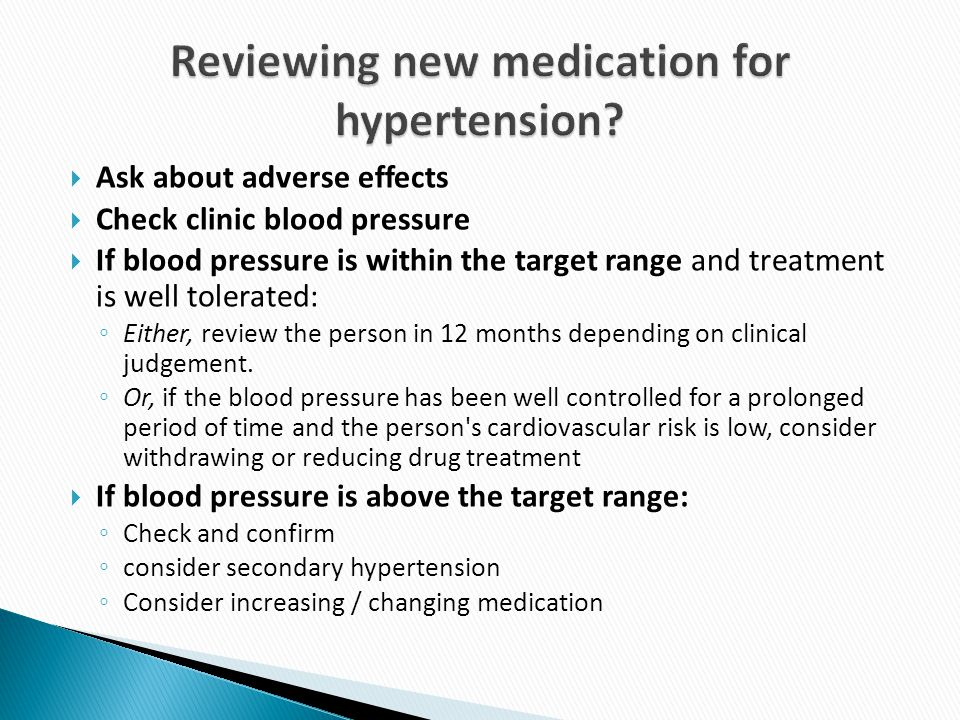 Reviewing new medication for hypertension