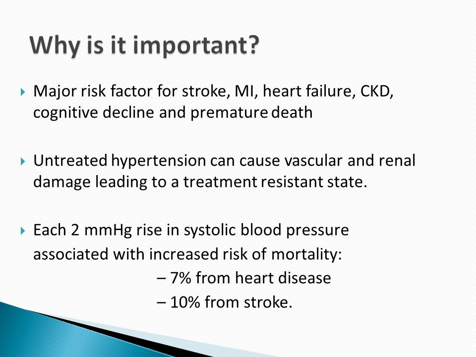 Why is it important Major risk factor for stroke, MI, heart failure, CKD, cognitive decline and premature death.
