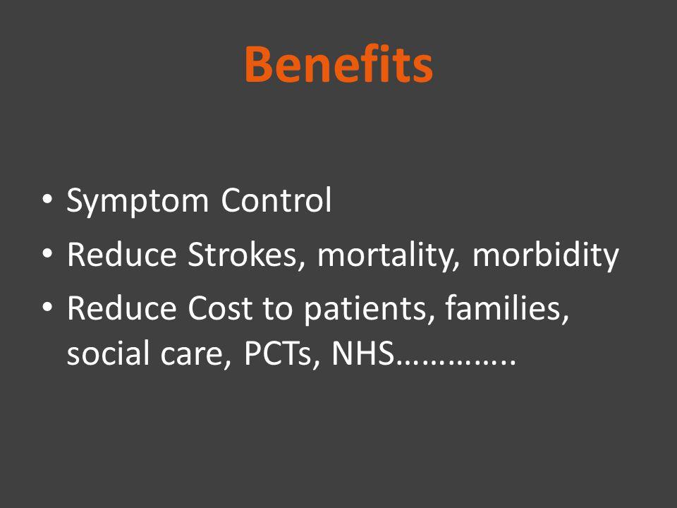 Benefits Symptom Control Reduce Strokes, mortality, morbidity