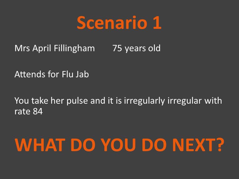 Scenario 1 WHAT DO YOU DO NEXT