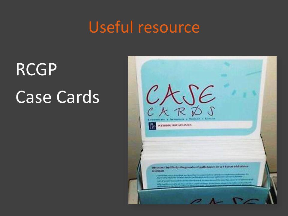 Useful resource RCGP Case Cards