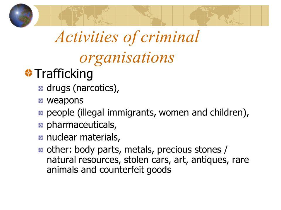 Activities of criminal organisations
