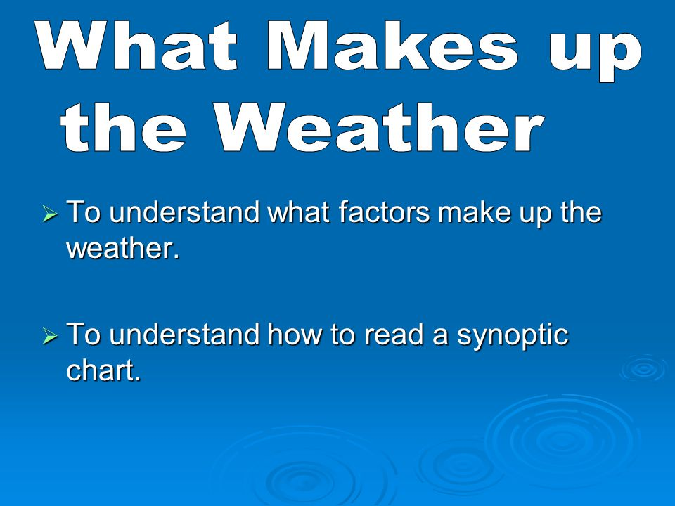 What Makes up the Weather