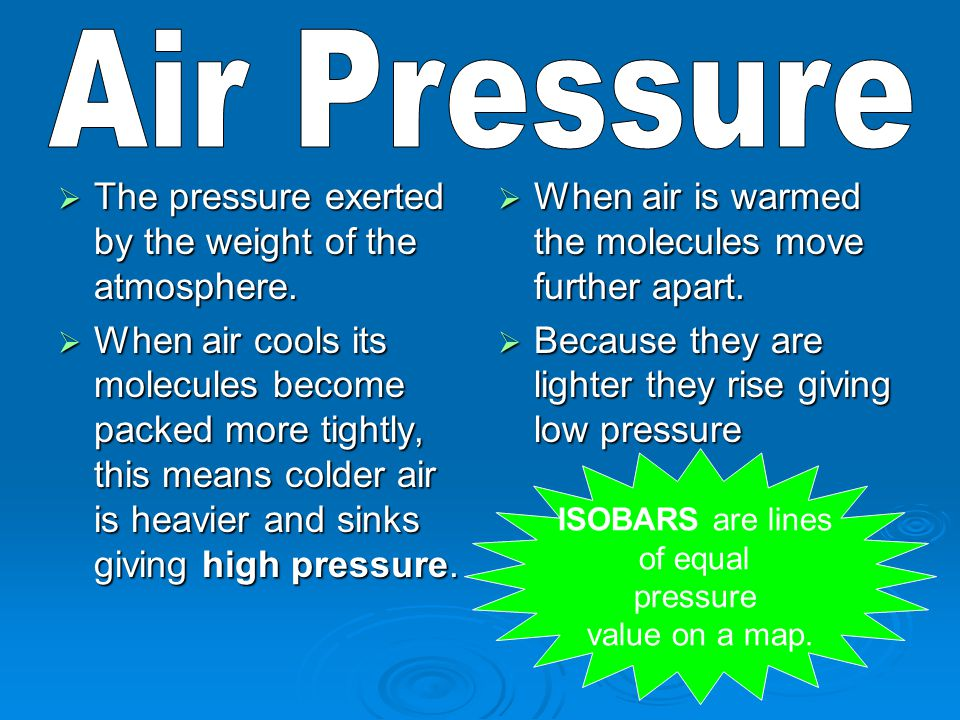 Air Pressure The pressure exerted by the weight of the atmosphere.