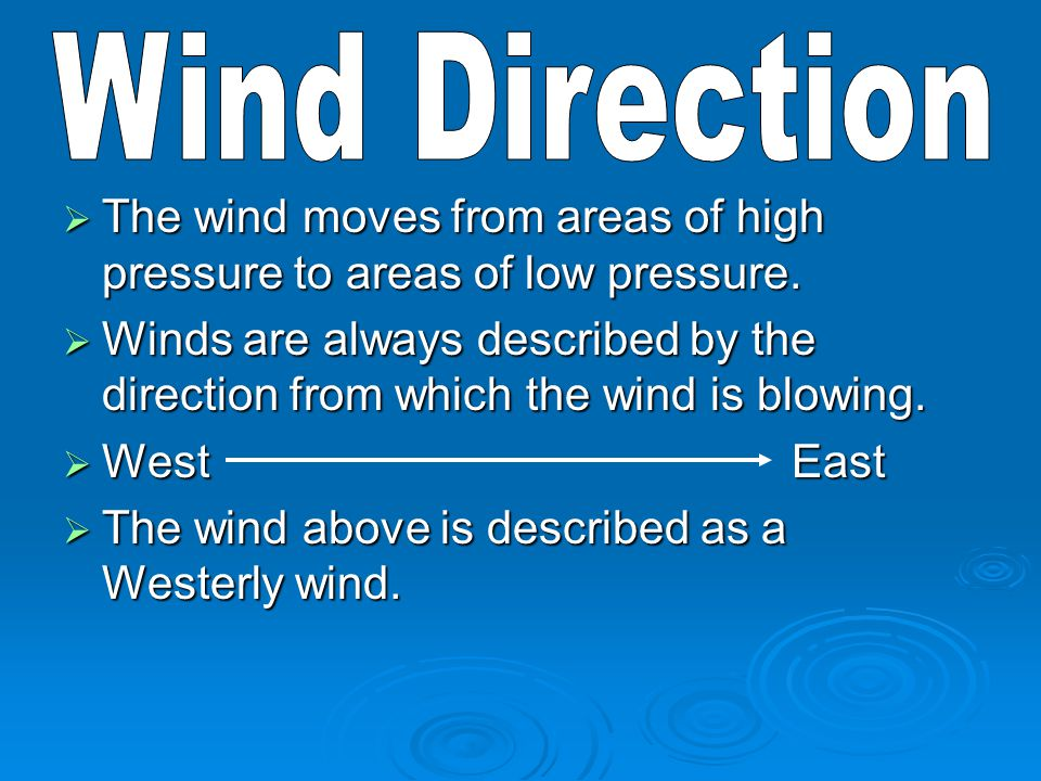 Wind Direction The wind moves from areas of high pressure to areas of low pressure.
