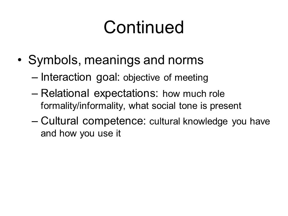 Continued Symbols, meanings and norms