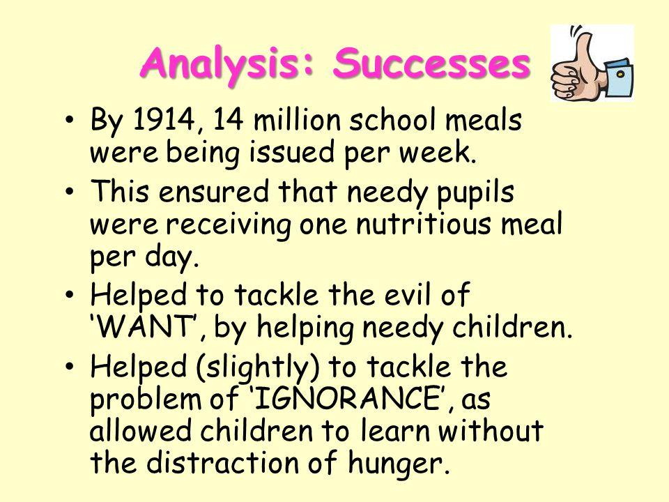 Analysis: Successes By 1914, 14 million school meals were being issued per week.