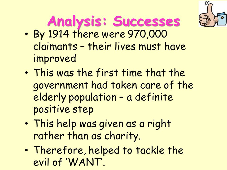 Analysis: Successes By 1914 there were 970,000 claimants – their lives must have improved.