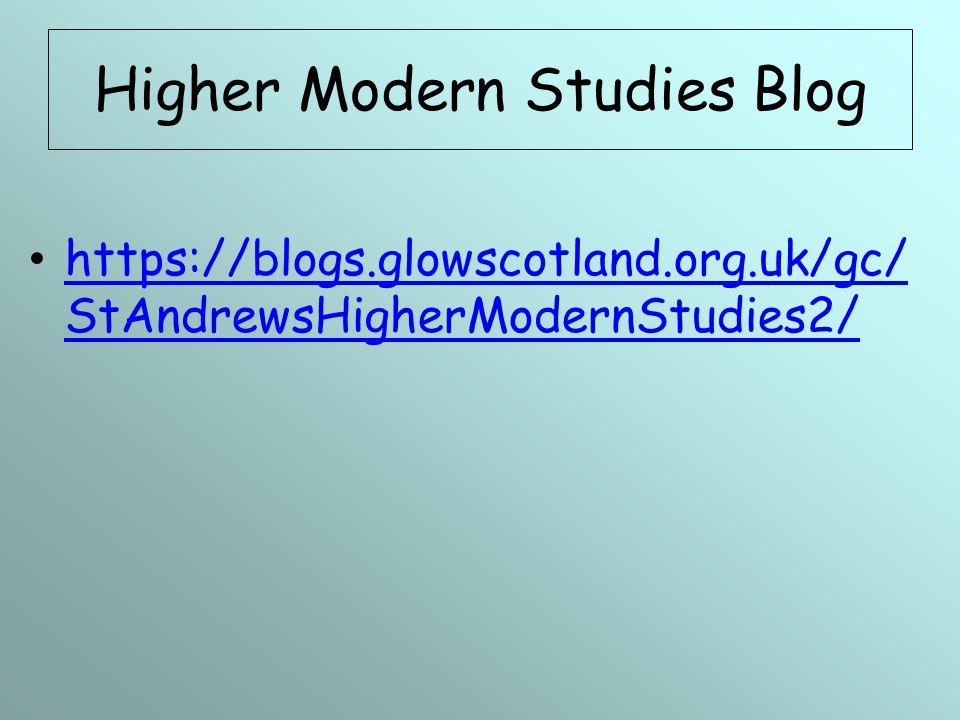 Higher Modern Studies Blog