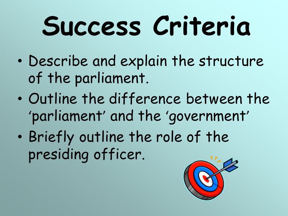 Success Criteria Describe and explain the structure of the parliament.