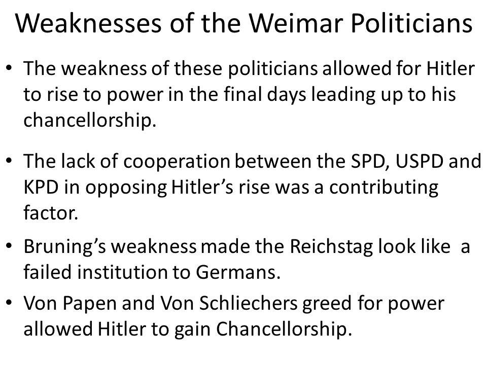 Weaknesses of the Weimar Politicians