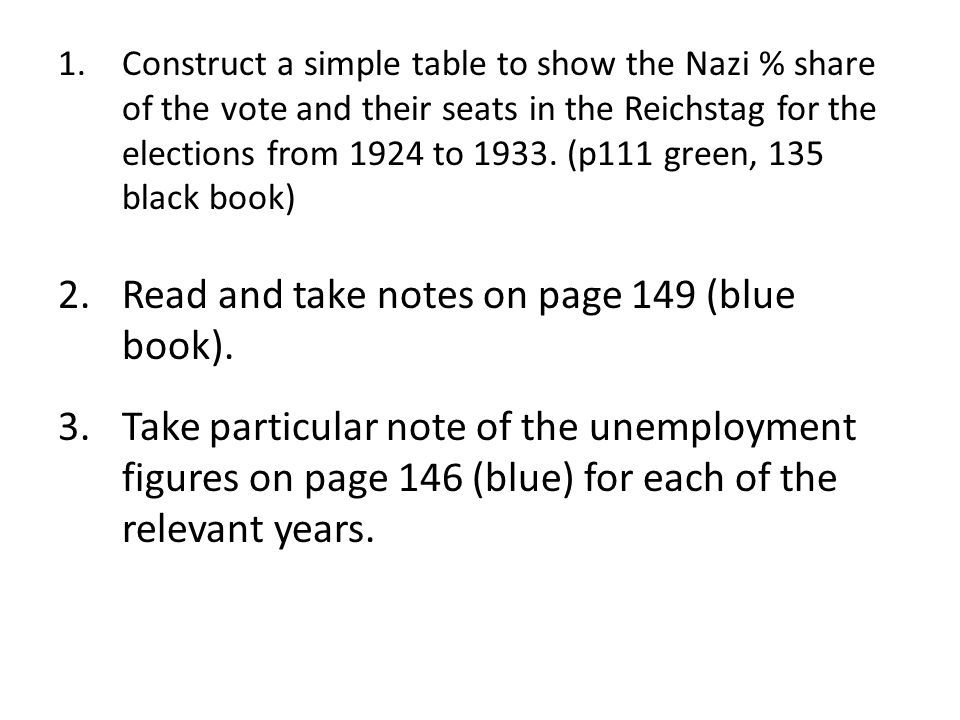 Read and take notes on page 149 (blue book).