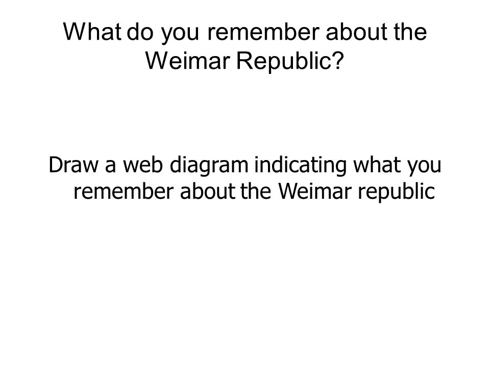 What do you remember about the Weimar Republic