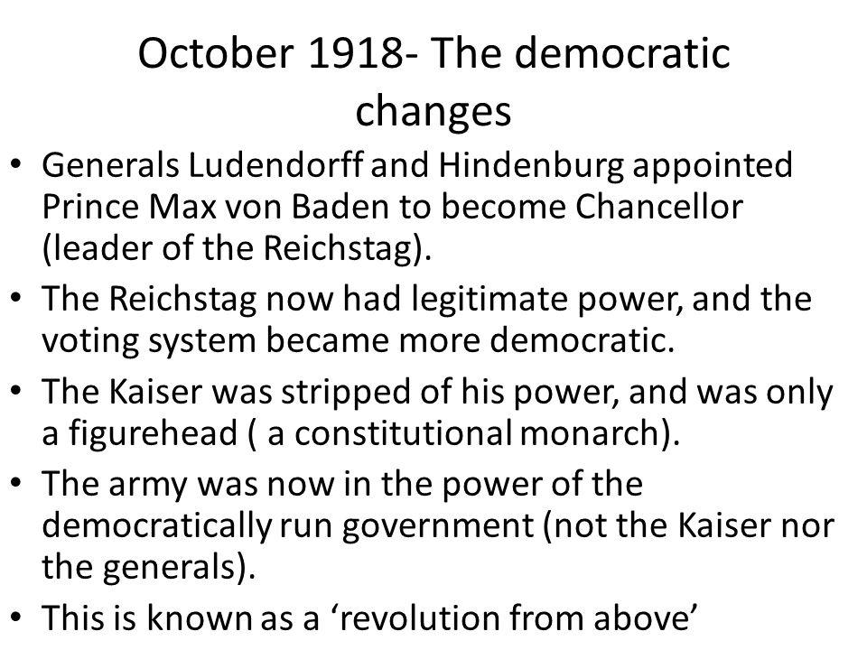 October 1918- The democratic changes