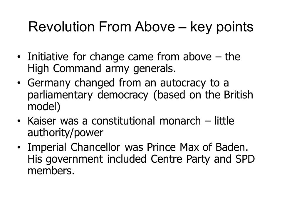 Revolution From Above – key points