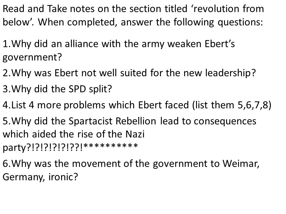Read and Take notes on the section titled 'revolution from below'