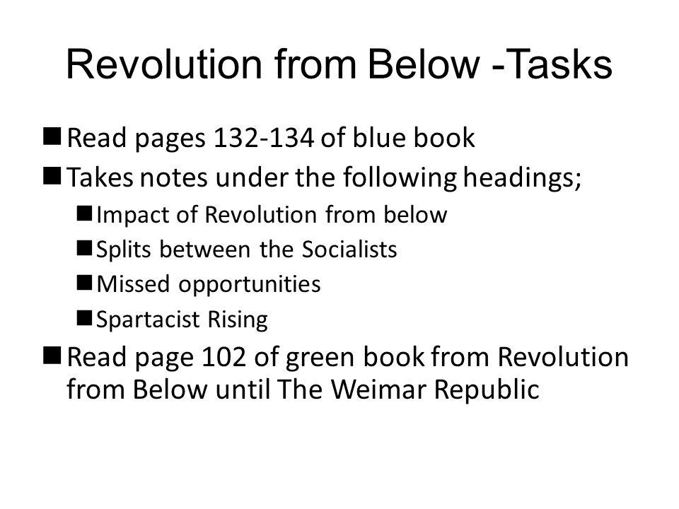 Revolution from Below -Tasks