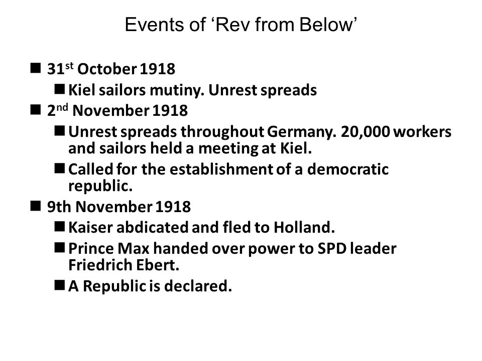 Events of 'Rev from Below'