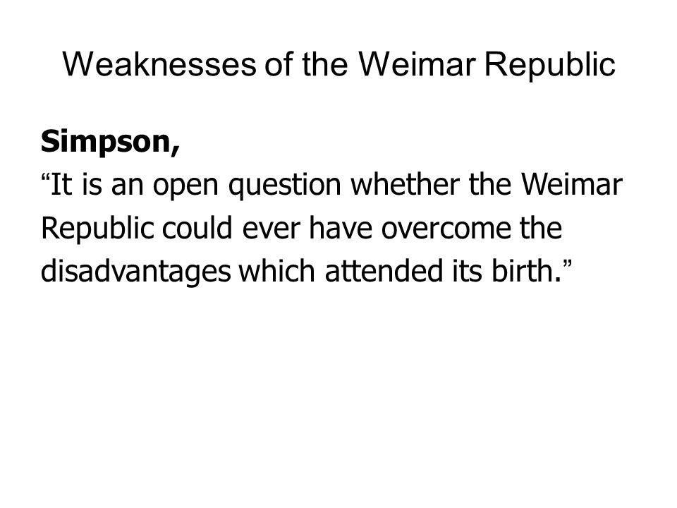 Weaknesses of the Weimar Republic