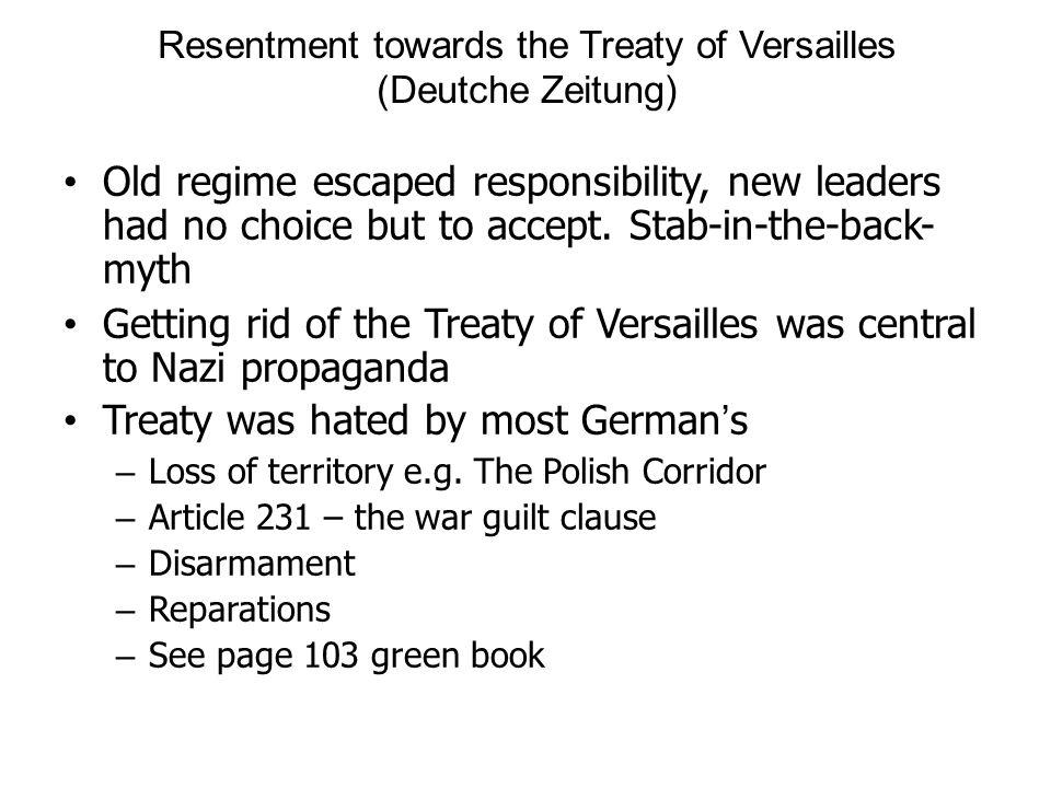 Resentment towards the Treaty of Versailles (Deutche Zeitung)