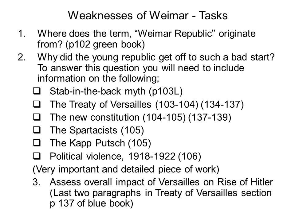 Weaknesses of Weimar - Tasks