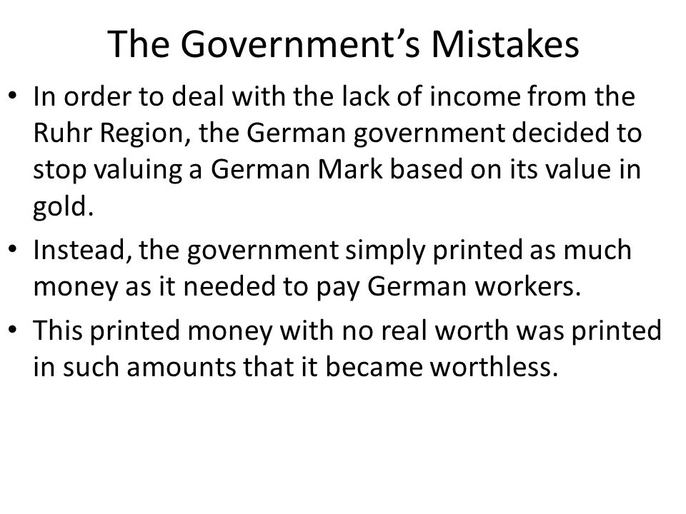 The Government's Mistakes