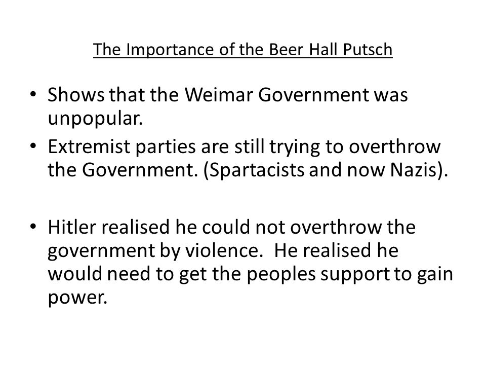 The Importance of the Beer Hall Putsch
