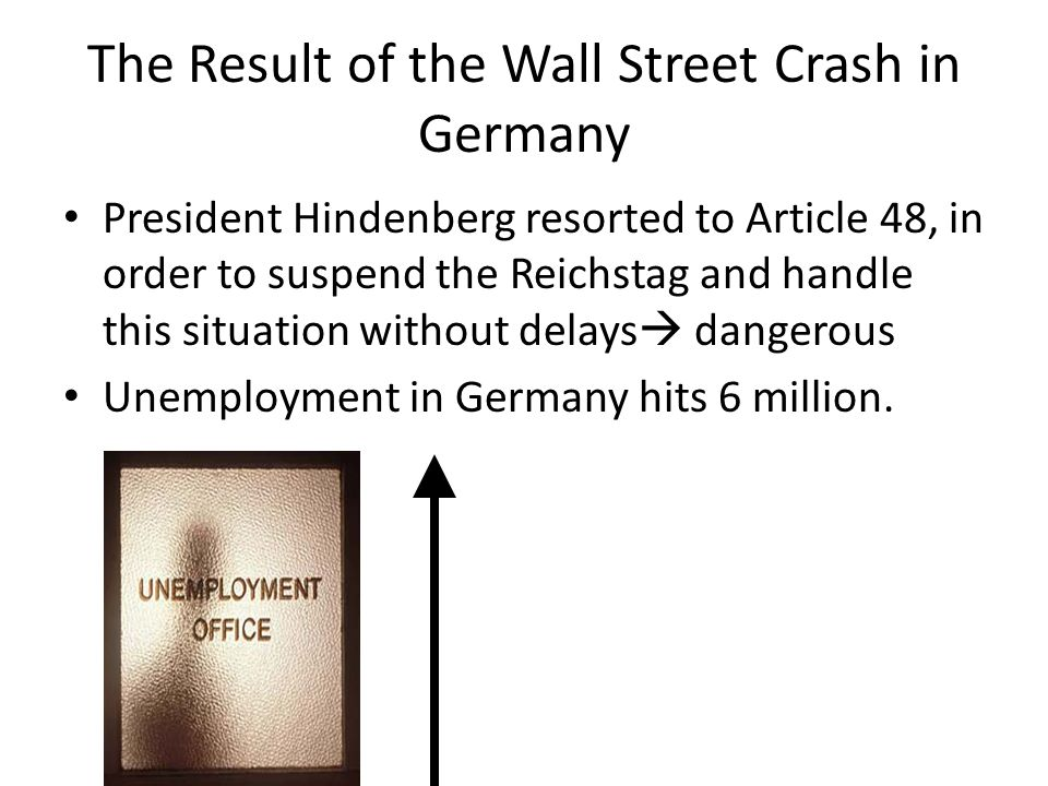 The Result of the Wall Street Crash in Germany
