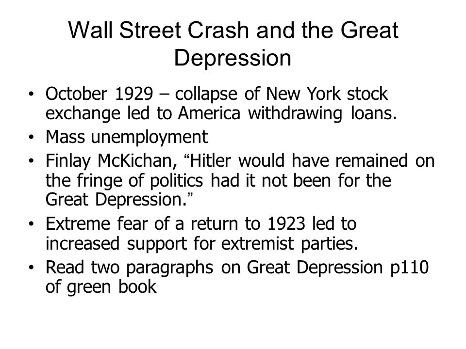 Wall Street Crash and the Great Depression