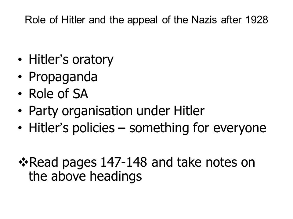 Role of Hitler and the appeal of the Nazis after 1928