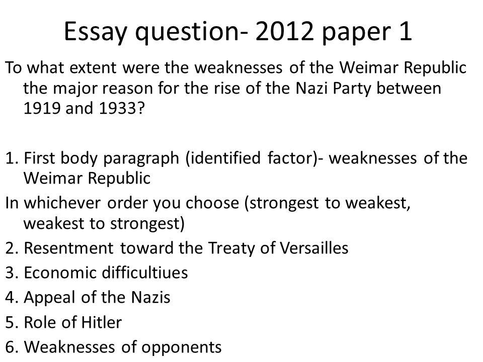 Essay question- 2012 paper 1