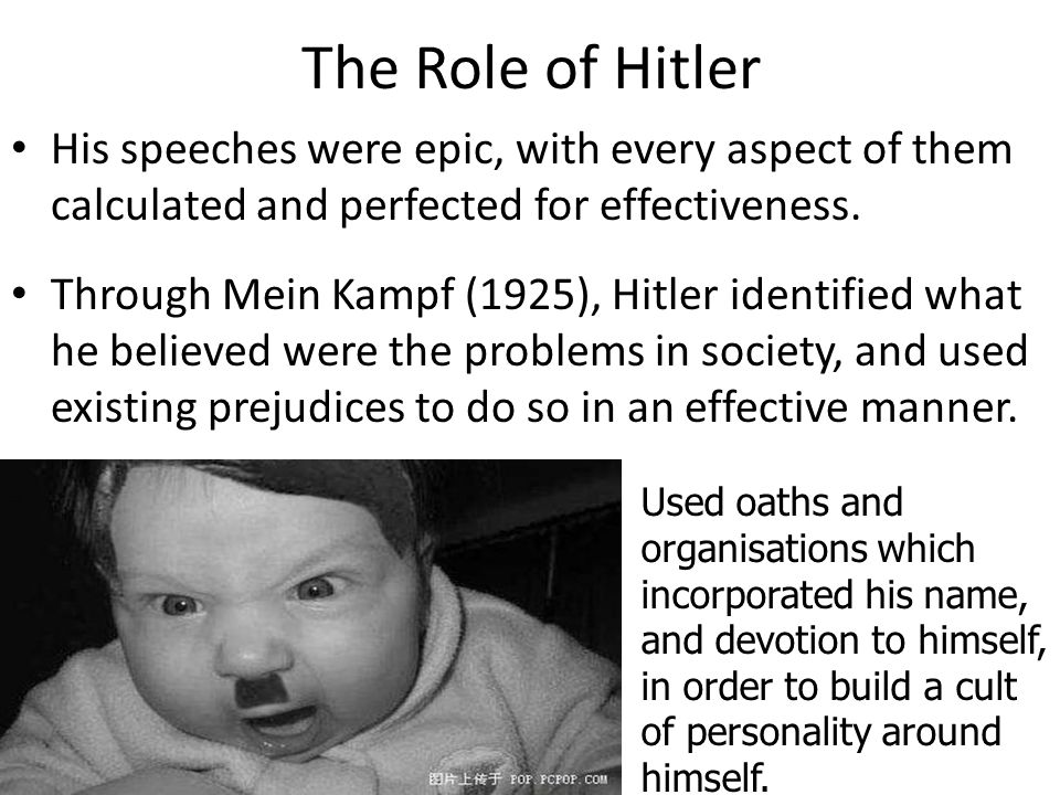 The Role of Hitler His speeches were epic, with every aspect of them calculated and perfected for effectiveness.