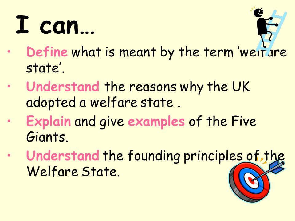 I can… Define what is meant by the term 'welfare state'.