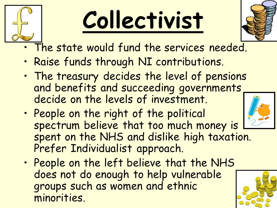 Collectivist The state would fund the services needed.