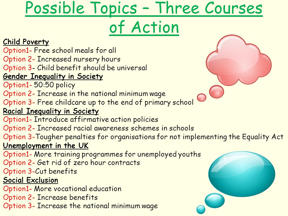 Possible Topics – Three Courses of Action