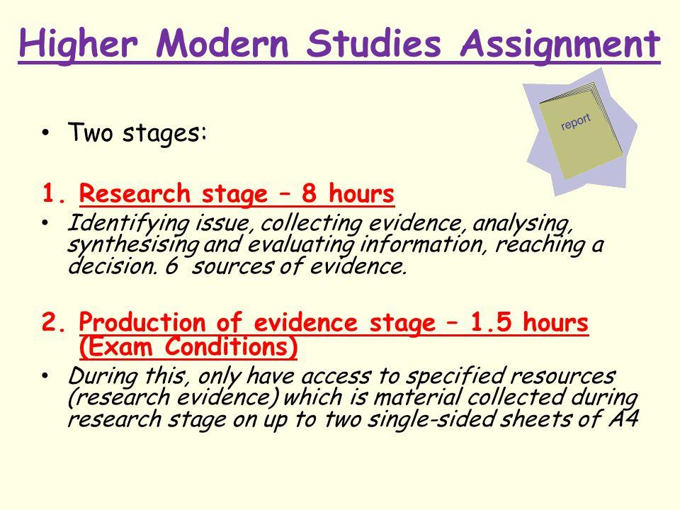 Higher Modern Studies Assignment