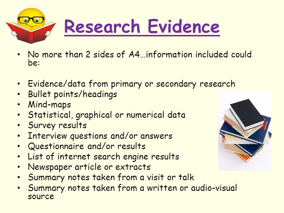 Research Evidence No more than 2 sides of A4…information included could be: Evidence/data from primary or secondary research.