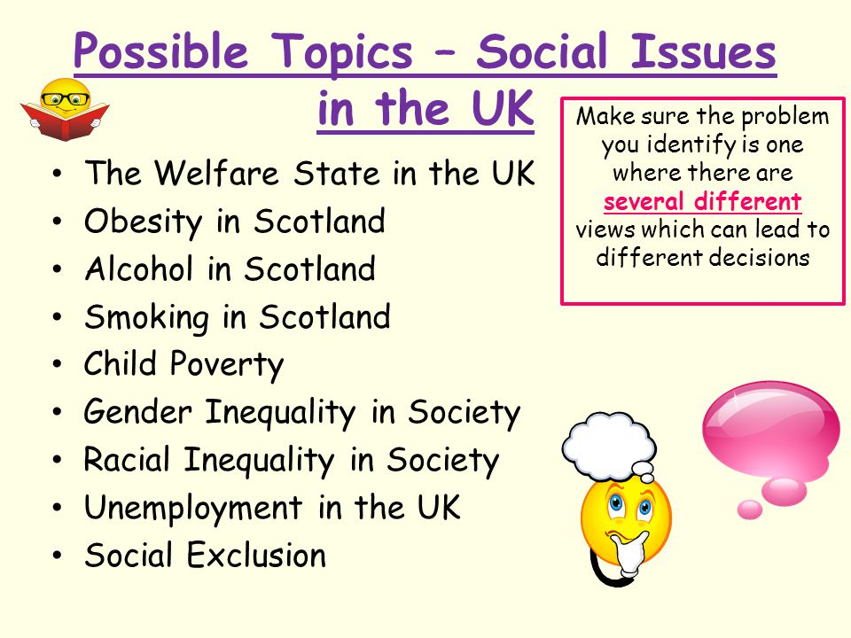 Possible Topics – Social Issues in the UK