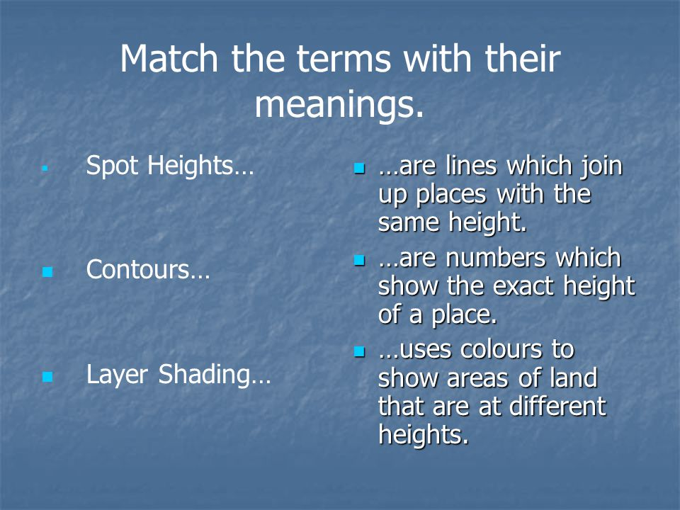 Match the terms with their meanings.