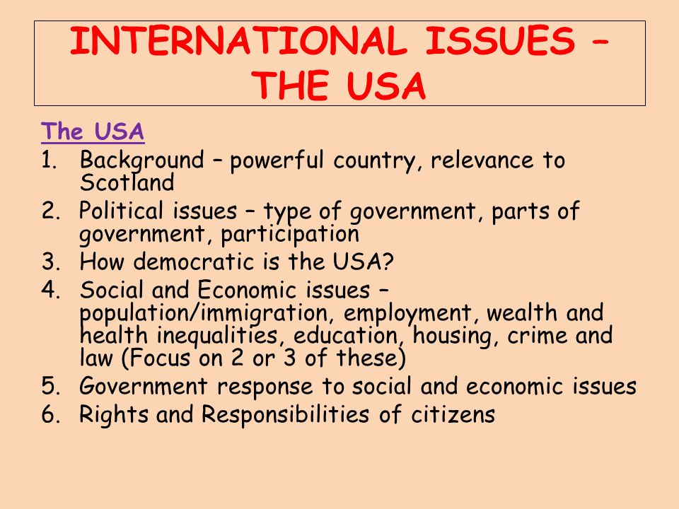 INTERNATIONAL ISSUES – THE USA