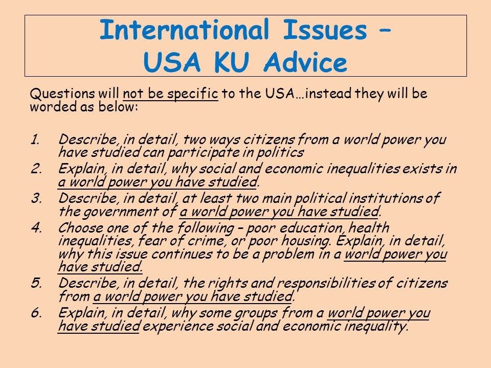International Issues – USA KU Advice