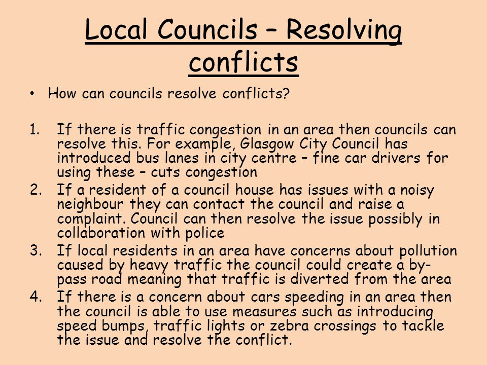 Local Councils – Resolving conflicts
