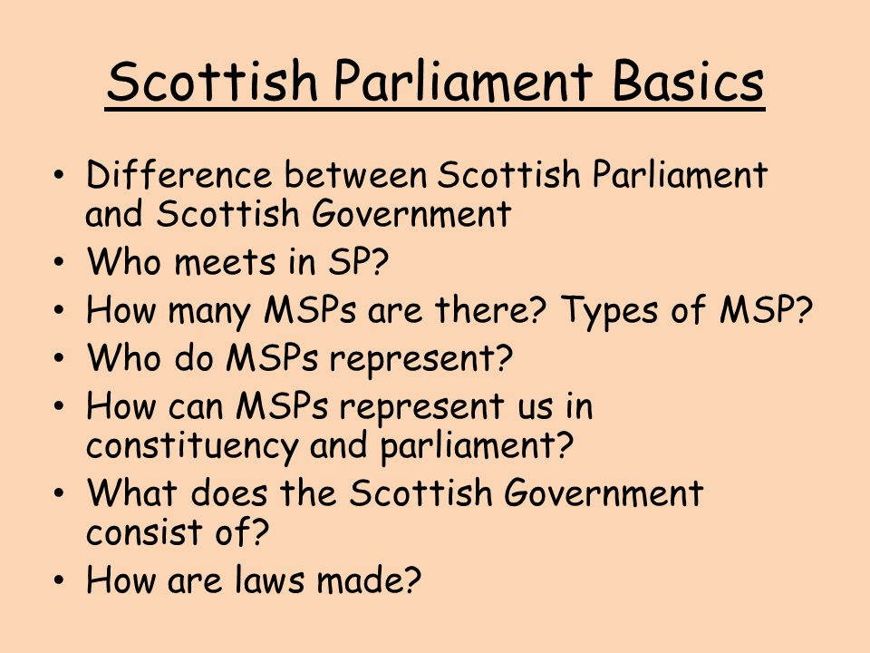 Scottish Parliament Basics