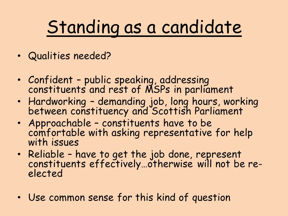 Standing as a candidate