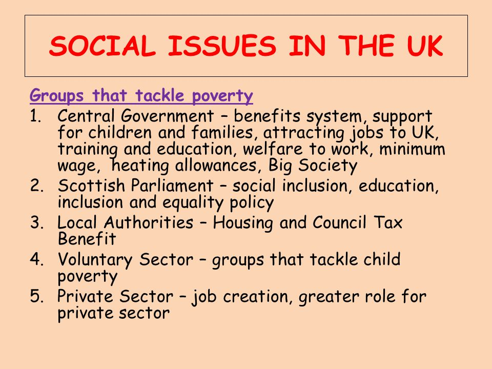 SOCIAL ISSUES IN THE UK Groups that tackle poverty